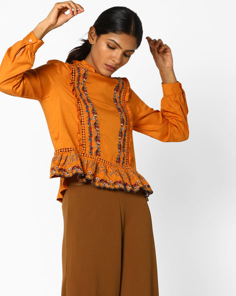 Peplum Top With Floral Embroidery By AJIO ( Yellow )
