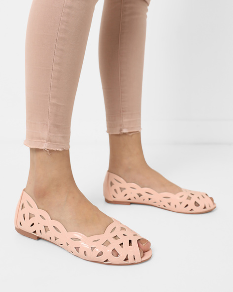 Peep-Toe Ballerinas With Cutouts By Carlton London ( Pink )