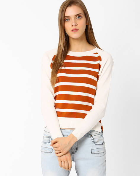 Striped Flat-Knit Top By FIG ( Orange )