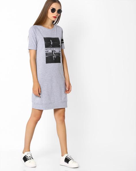 Graphic Print Knitted Dress By AJIO ( Greymelange )