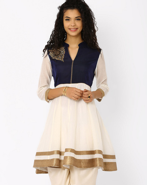 Chanderi Kurta With Mandarin Collar By AJIO ( White )