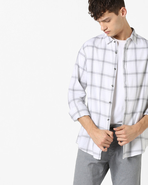 Tartan Checked Shirt With Spread Collar By AJIO ( Blackwhite )