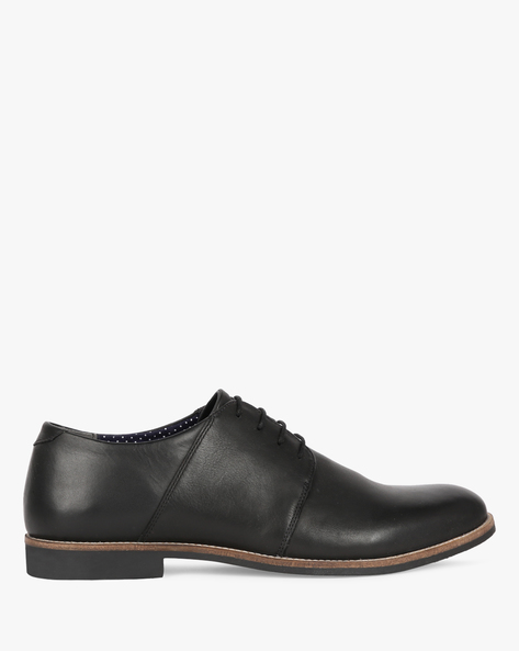 Lace-Up Leather Derby Shoes By UNITED COLORS OF BENETTON ( Black )