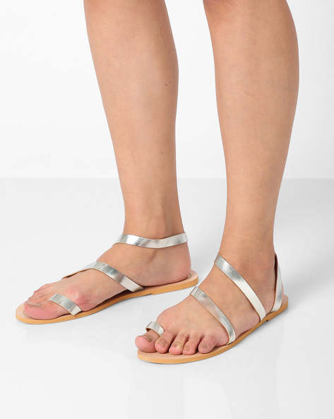 Toe-Ring Flat Sandals By AJIO ( Silver )