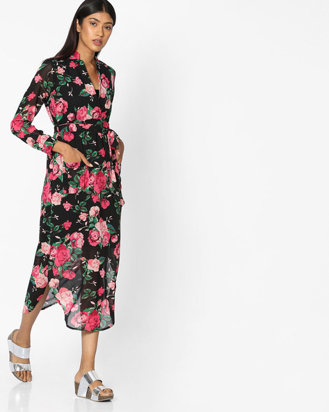 Floral Printed Dress With Tie-Up By Sassafras ( Black )
