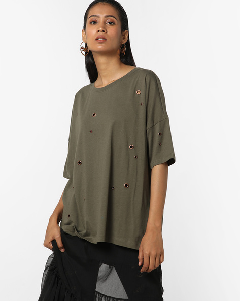 Drop-Shoulder T-shirt With Eyelets By Only ( Green )
