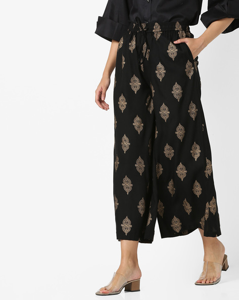 All-Over Print Palazzos With Drawstring Waist By Project Eve IW Evening ( Black )