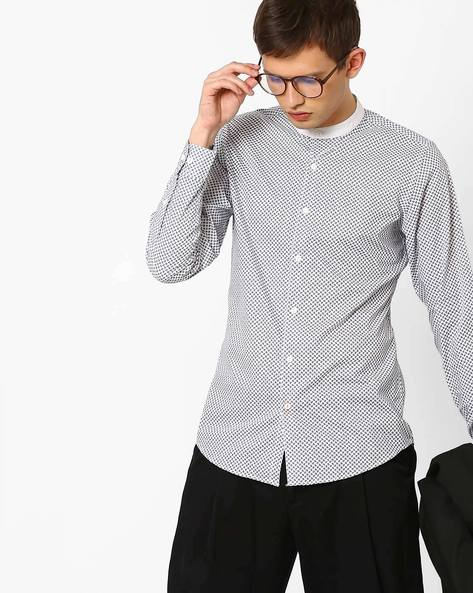 All-Over Print Poplin Shirt By ADAMO LONDON ( White ) - 460073300001