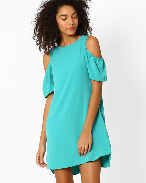 Cold-Shoulder Shift Dress By AJIO ( Green )