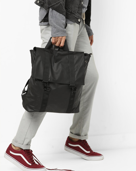 Laptop Backpack With Flap Closure By AJIO ( Black ) - 460138843002