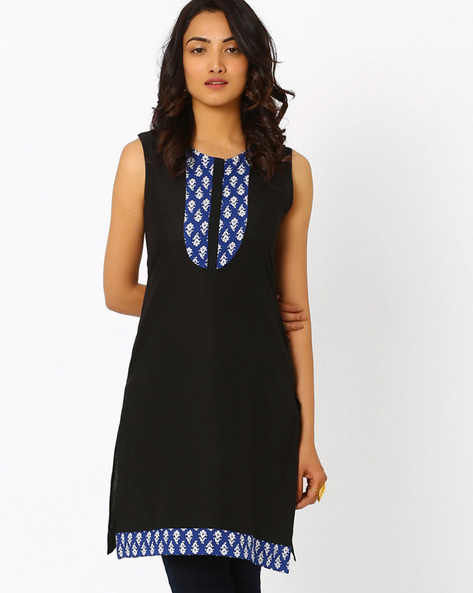 Kurta With Printed Yoke By AJIO ( Black )