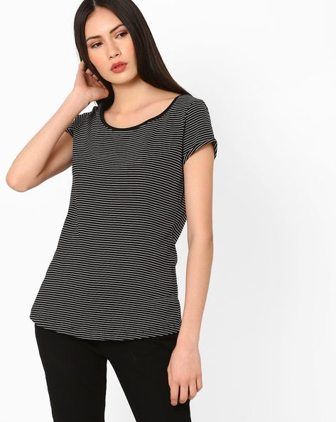 Striped Cotton Top By Fame Forever ( Black )