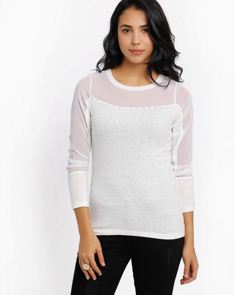 Top With Sheer Panels By SF Jeans By Pantaloons ( Offwhite )