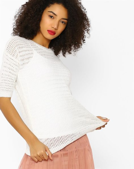 Regular Fit Pullover With Drop-Shoulder Sleeves By Lee ( White )