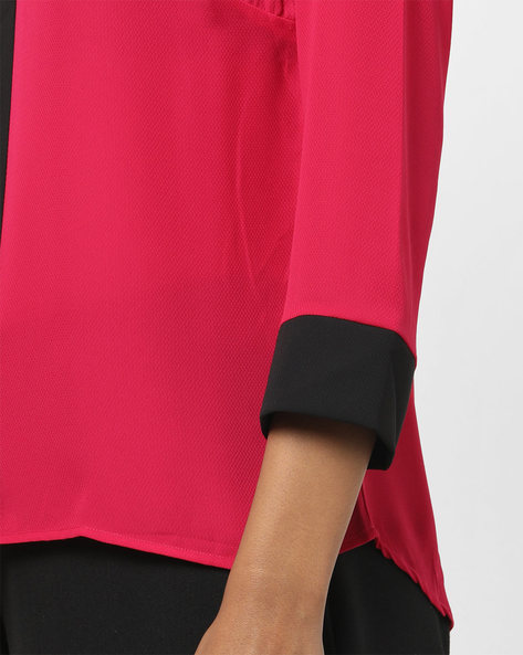 V-neck Top With Contrast Tie-Up By AJIO ( Red )