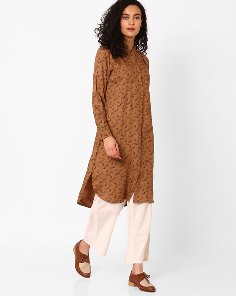 Printed Shirt Kurta With Patch Pockets By AJIO ( Brown )