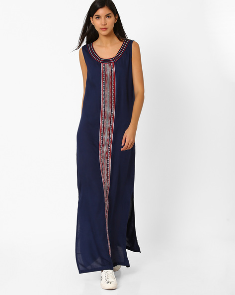 Maxi Dress With Embroidery By Global Desi ( Indigo )