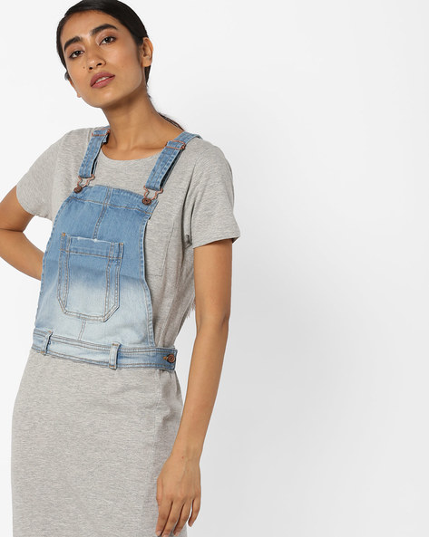 Pinafore Top With Belt Loops By Evah London ( Blue )