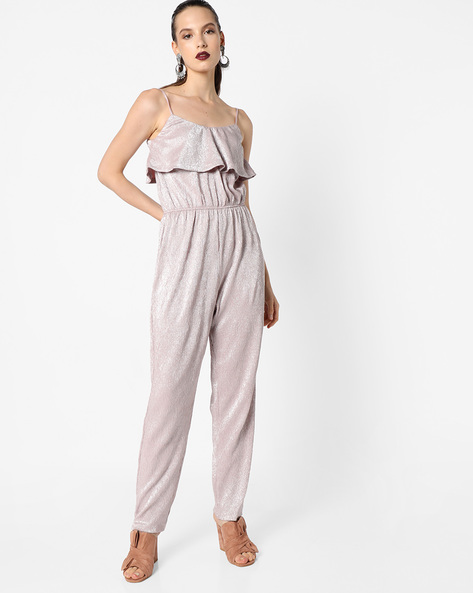 Foil Jumpsuit With Ruffled Overlay By Oxolloxo ( Pink )