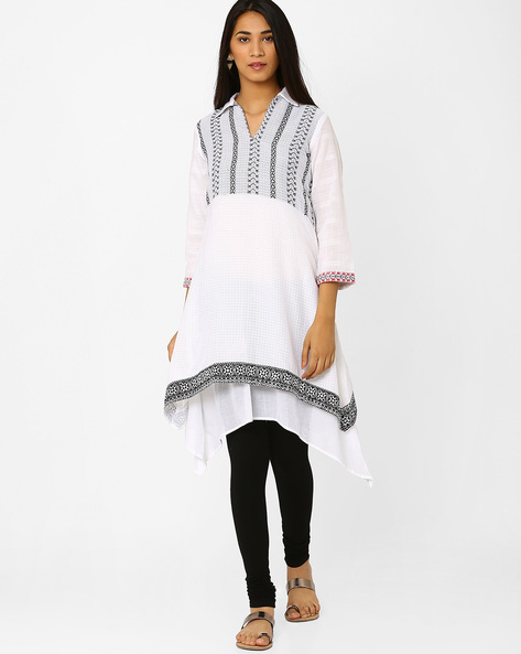 Printed Asymmetrical Tunic By Biba ( White )