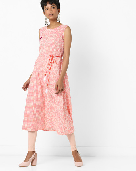 Floral Print Sleeveless Kurta By AJIO ( Pink )