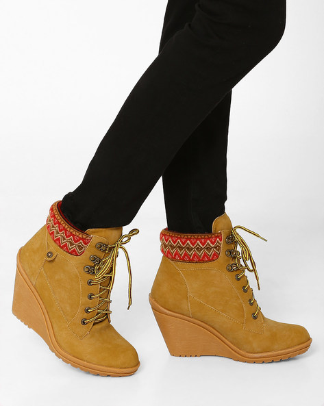 High-Top Lace-Up Boots By Carlton London ( Yellow )