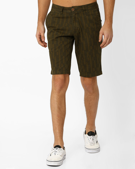 Printed Slim Fit Shorts By The Indian Garage Co ( Lightgreen )