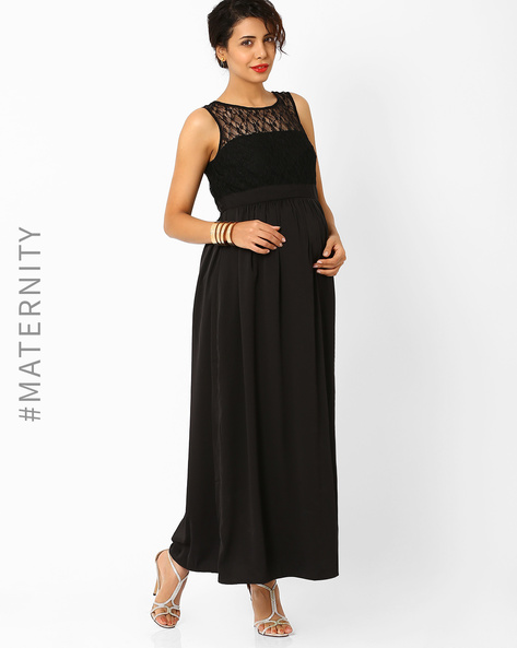 Maternity Maxi Dress By AJIO ( Black )