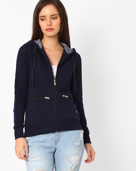 Quilted Zip-Front Hoodie By TAANZ WOMENS ( Assorted )