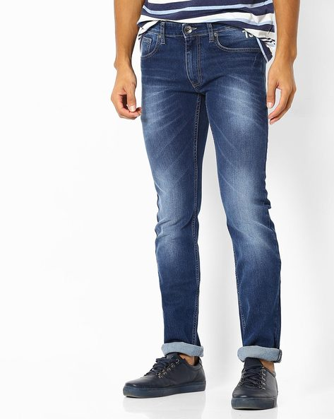 Lightly Washed Slim Fit Jeans With Whiskers By Pepe Jeans ( Blue )