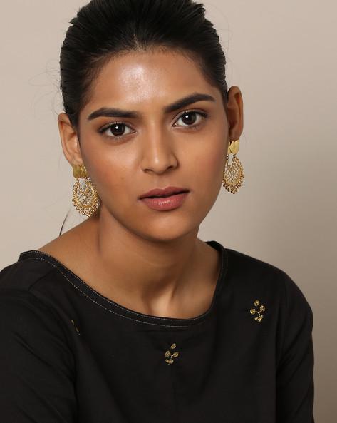 Gold-Plated Filigree Designer Earrings By Rubans ( Gold )