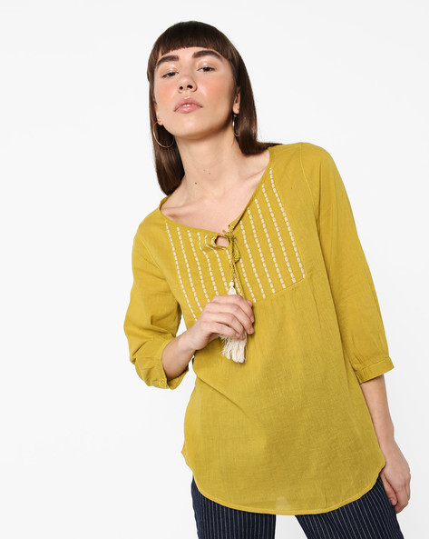 Top With Embroidered Yoke By Fame Forever By Lifestyle ( Yellow )