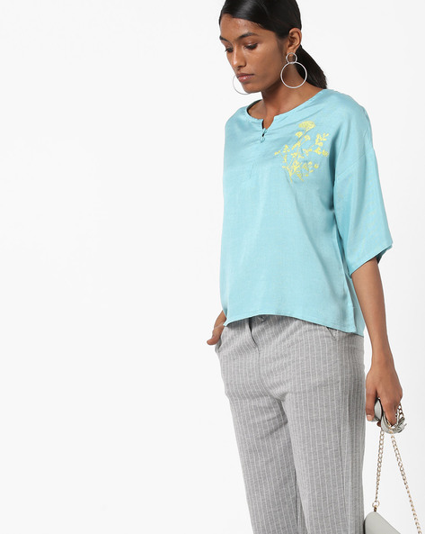 Embroidered Boxy Top With Drop-Shoulder Sleeves By AJIO ( Aqua )