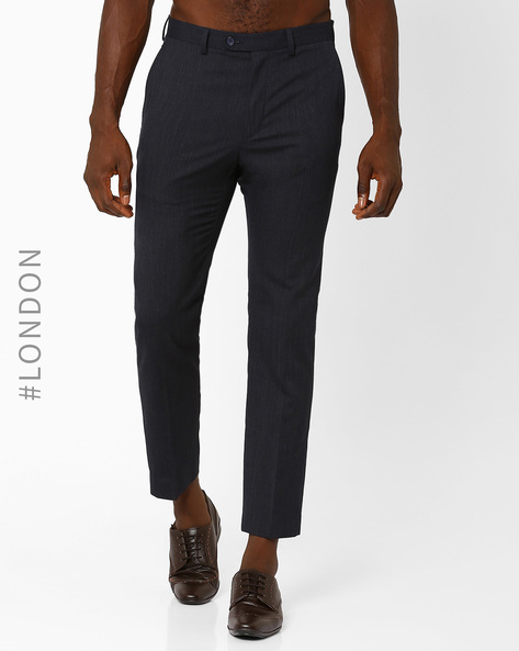 Slim Fit Stretchable Commuter Trousers By Marks & Spencer ( Navyblue )