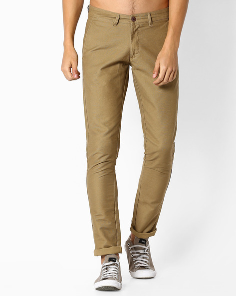 Flat-Front Cotton Chinos By NETPLAY ( Khaki )