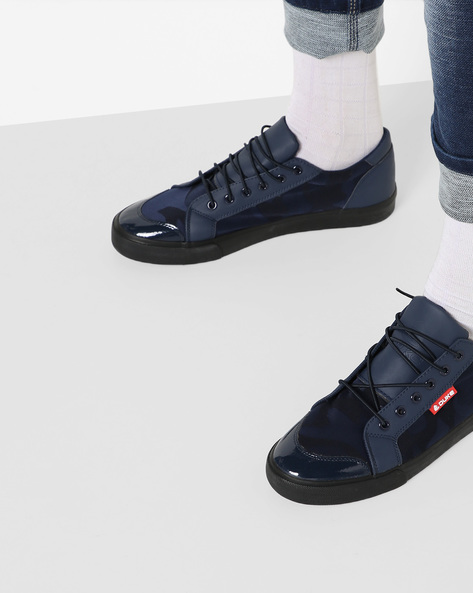 Sneakers With Camouflage Print Panels By DUKE ( Navy )