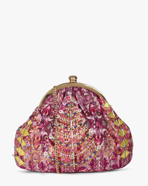 Printed Sling Clutch With Hand Embroidery By Neonia ( Pink )
