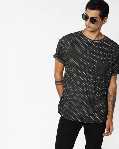 Polka-Dot Print T-shirt With Raglan Sleeves By RINGSPUN ( Darkgrey )
