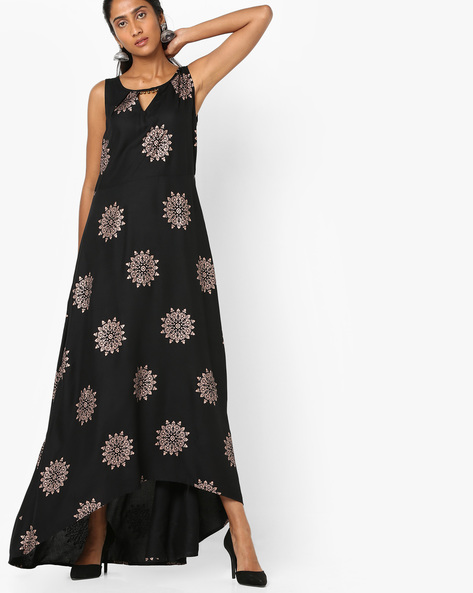 Printed Asymmetric A-line Dress By Akkriti By Pantaloons ( Black )