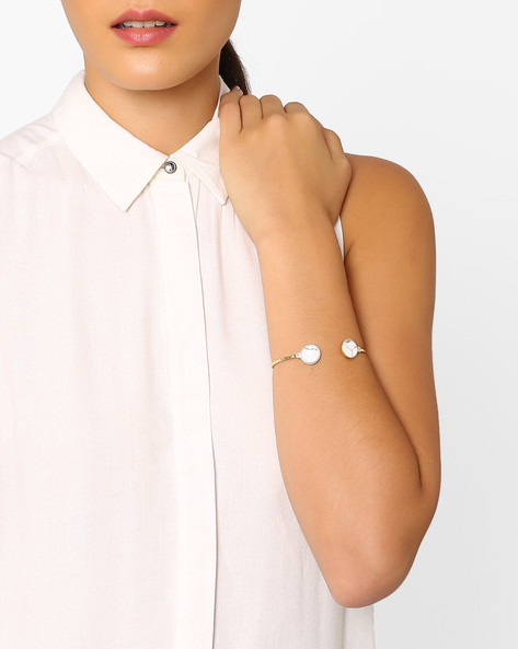 Stone Studded Cuff Bracelet By Pipa Bella ( White )