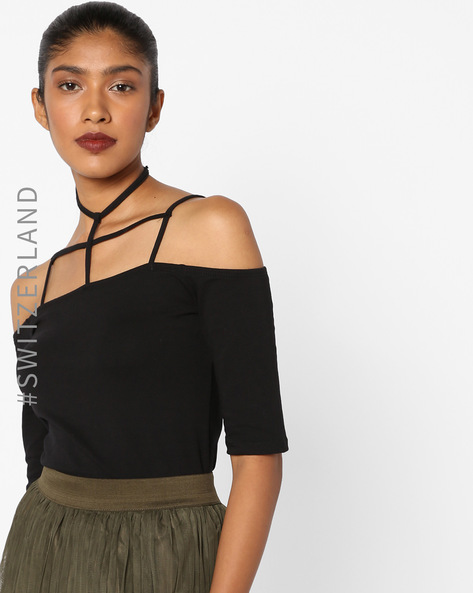 Cold-Shoulder Top With Choker Neckline By TALLY WEiJL ( Black )