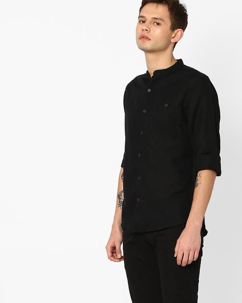 Linen Slim Shirt With Mandarin Collar By AJIO ( Black )