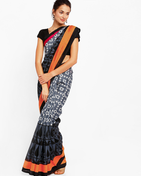 Saree With Geometric Print By Diva Fashion ( Multi )