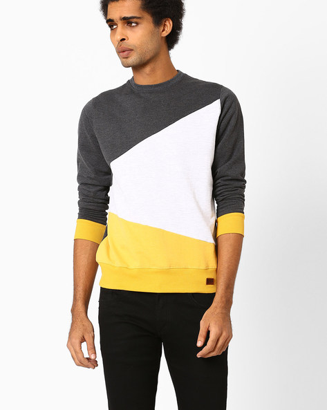 Colourblock Crew-Neck Slim Sweatshirt By Blue Saint ( Grey )