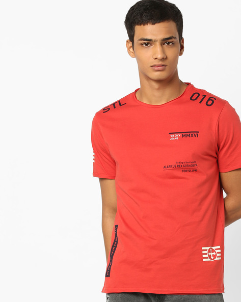 Typographic Print T-shirt With Raw Edges By AJIO ( Coral )