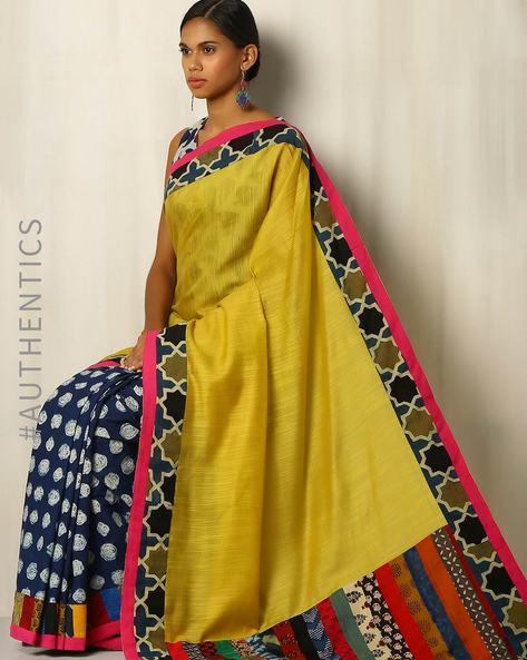 Half & Half Handblock Print Cotton Silk Designer Saree With Patchwork By Addoz ( Multi )