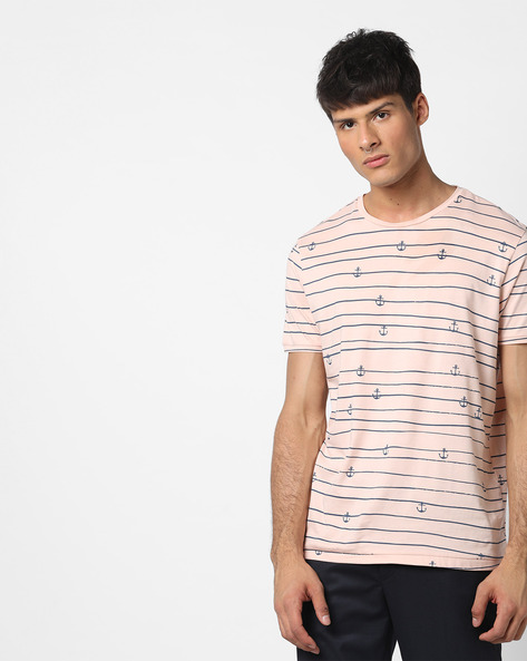 Striped T-shirt With Anchor Print By AJIO ( Pink )
