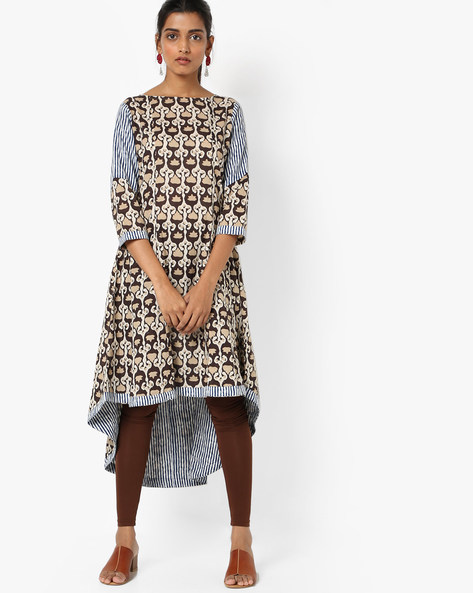 Printed Kurta With High-Low Hemline By Anjani ( Brown )