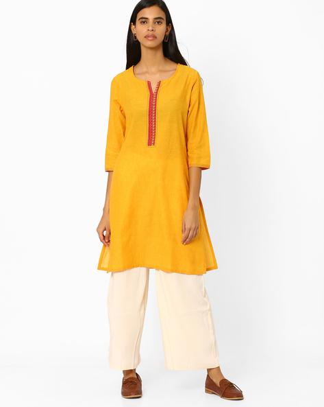 Cotton Straight Kurta By Rangmanch By Pantaloons ( Yellow )