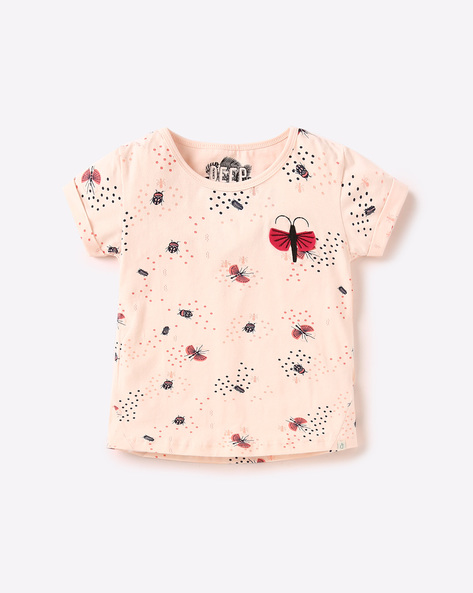 Printed Cotton Top By GINI & JONY ( Pink )